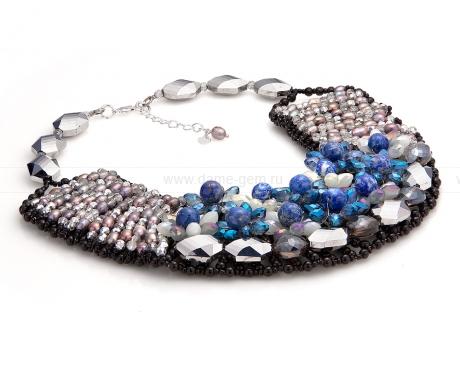 Колье из лазурита, жемчуга, черного агата и кристаллов. Артикул 12309