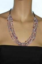 Ожерелье из розового кварца, жемчуга и бисера. Артикул 12316