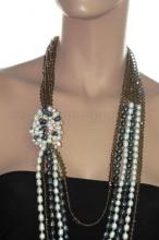 Длинные бусы из жемчуга и кристаллов. Артикул 12329
