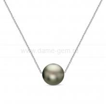 Цепочка из золота с серебристой Таитянской морской жемчужиной 10,5-11 мм. Артикул 12340