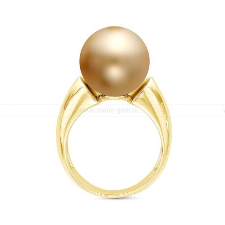 Кольцо из серебра с золотистой Австралийской жемчужиной 12-12,5 мм. Артикул 12341