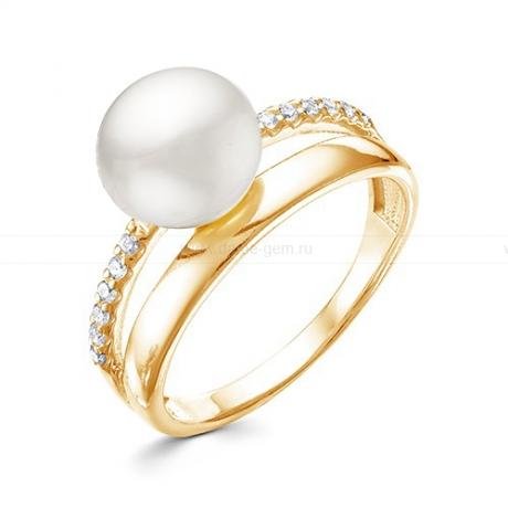 Кольцо из серебра с белой жемчужиной 9,5-10 мм. Артикул 12342