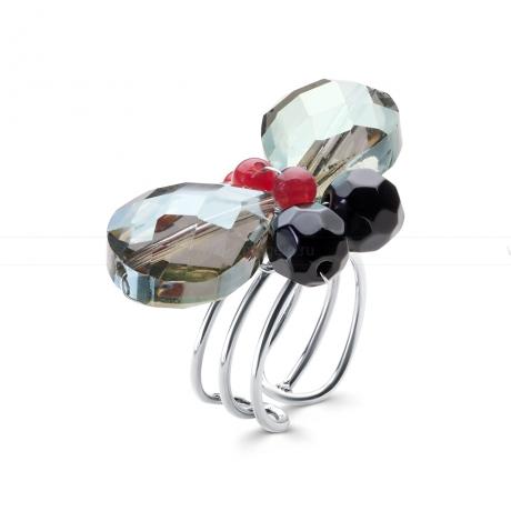 Кольцо из агата, яшмы и кристаллов. Артикул 12346