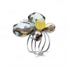 Кольцо из кварца и кристаллов. Артикул 12347