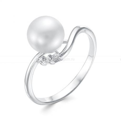 Кольцо из белого золота с белой жемчужиной 8-8,5 мм. Артикул 12353