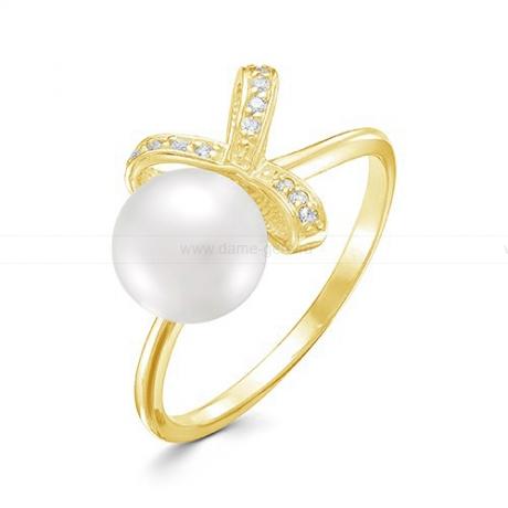 Кольцо из желтого золота с белой жемчужиной 8,5-9 мм. Артикул 12354