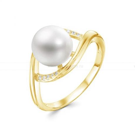Кольцо из желтого золота с белой жемчужиной 9,5-10 мм. Артикул 12355