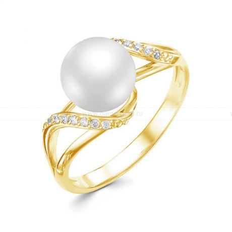 Кольцо из желтого золота с белой жемчужиной 7,5-8 мм. Артикул 12356