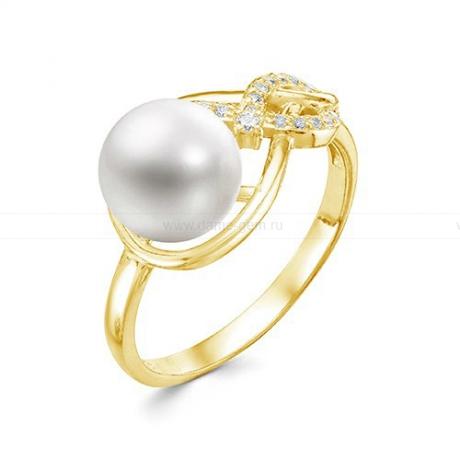 Кольцо из желтого золота с белой жемчужиной 8,5-9 мм. Артикул 12357