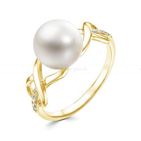 Кольцо из желтого золота с белой жемчужиной 7,5-8 мм. Артикул 12358