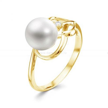 Кольцо из желтого золота с белой жемчужиной 7,5-8 мм. Артикул 12359