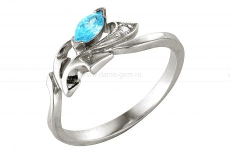 Кольцо из серебра 925 пробы с голубым фианитом. Артикул 12365