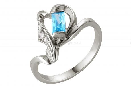 Кольцо из серебра 925 пробы с голубым фианитом. Артикул 12366