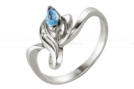 Кольцо из серебра 925 пробы с голубым фианитом. Артикул 12368