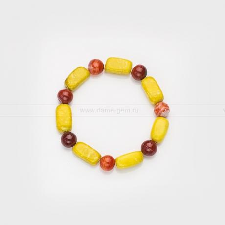 Браслет из сардоникса и желтой яшмы. Артикул 12378