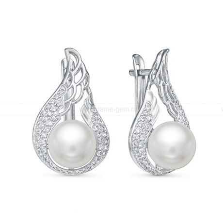 Серьги из серебра с белыми жемчужинами 8,5-9 мм. Артикул 12396