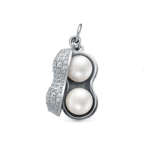 Кулон из серебра с белыми жемчужинами 8-8,5 мм. Артикул 12406