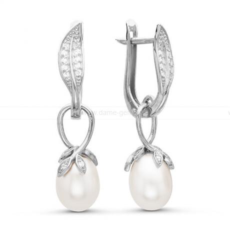 Серьги из серебра с белыми жемчужинами 7,5-8 мм. Артикул 12408