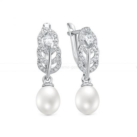 Серьги из серебра с белыми жемчужинами 7,5-8 мм. Артикул 12410