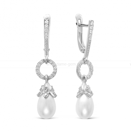 Серьги из серебра с белыми жемчужинами 7,5-8 мм. Артикул 12411
