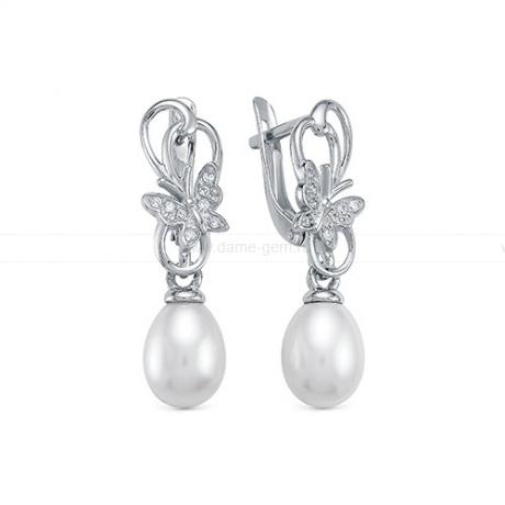 Серьги из серебра с белыми жемчужинами 7,5-8 мм. Артикул 12412
