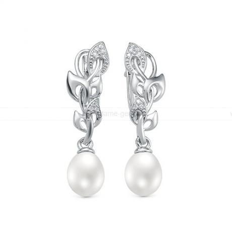 Серьги из серебра с белыми жемчужинами 7,5-8 мм. Артикул 12415