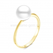 Кольцо из золота с белой морской жемчужиной Акойя 7-7,5 мм. Артикул 12418