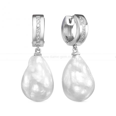 Серьги из серебра с белыми жемчужинами