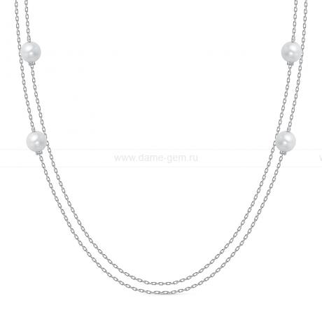 Цепочка из сплава с белыми речными жемчужинами 7-7,5 мм. Артикул 12429