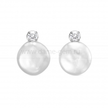 "Серьги из серебра с белыми жемчужинами ""барокко"" 13,5-14 мм. Артикул 12431"