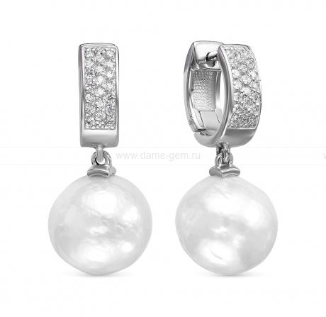 Серьги из серебра с белыми жемчужинами 12,5-13 мм. Артикул 12435