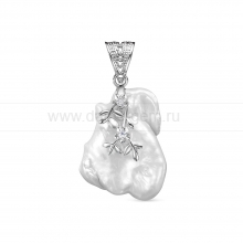 Кулон из серебра с белой барочной жемчужиной 23-27 мм. Артикул 12437