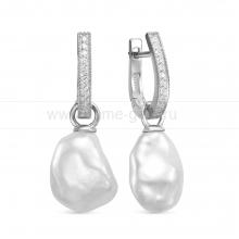 "Серьги из серебра с белыми жемчужинами ""барокко"" 13-15 мм. Артикул 12441"