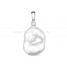 Кулон из серебра с белой барочной жемчужиной 15-18 мм. Артикул 12444
