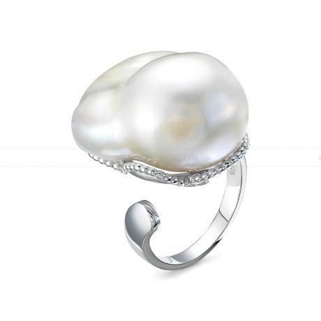 Кольцо из серебра с белой барочной жемчужиной 20-28 мм. Артикул 12445
