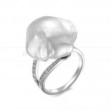 Кольцо из серебра с белой барочной жемчужиной 15-17 мм. Артикул 12446