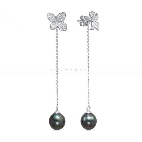 Серьги из серебра с Таитянскими жемчужинами 10-10,5 мм. Артикул 12448