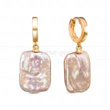 """Серьги из серебра с розовыми жемчужинами """"барокко"""" 15-19 мм. Артикул 12452"""
