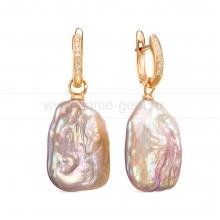 """Серьги из серебра с розовыми жемчужинами """"барокко"""" 15-22 мм. Артикул 12453"""