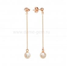 Серьги из серебра с розовыми речными жемчужинами 7-7,5 мм. Артикул 12461