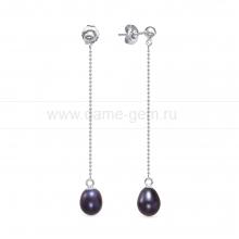 """Серьги из серебра с черными жемчужинами """"капля"""" 7,5-8 мм. Артикул 12469"""