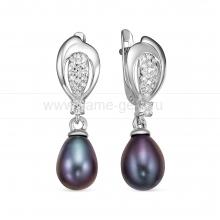 """Серьги из серебра с черными жемчужинами """"капля"""" 7,5-8 мм. Артикул 12471"""