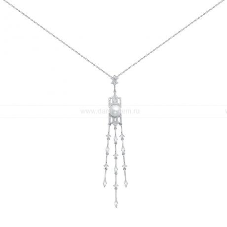 Колье из серебра с белой речной жемчужиной 10 мм. Артикул 12474