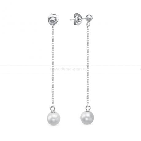 Серьги из серебра с белыми жемчужинами 7,5-8 мм. Артикул 12477