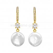 "Серьги из серебра с белыми жемчужинами ""барокко"" 13,5-14 мм. Артикул 12478"
