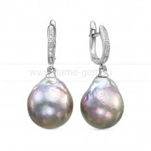 """Серьги из серебра с серыми жемчужинами """"барокко"""" 14-16 мм. Артикул 12488"""