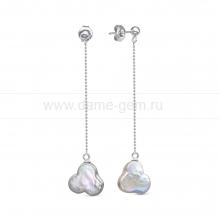 """Серьги из серебра с серыми жемчужинами """"барокко"""" 14 мм. Артикул 12490"""