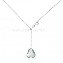 """Колье из серебра с серебристой жемчужиной """"барокко"""" 14 мм. Артикул 12491"""