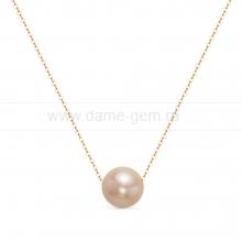 Цепочка из золота с розовой сплющенной жемчужиной 11,5-12 мм. Артикул 12493