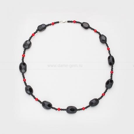 Ожерелье из черного агата и красной яшмы. Артикул 12495